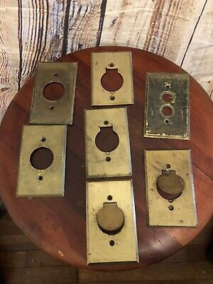 Lot Of 7 Vintage Brass Push button Light Switch Wall Cover Plates Outlet Covers