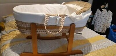 Kinder Valley Moses Basket And Rocking Stand With quilt etc; VGC