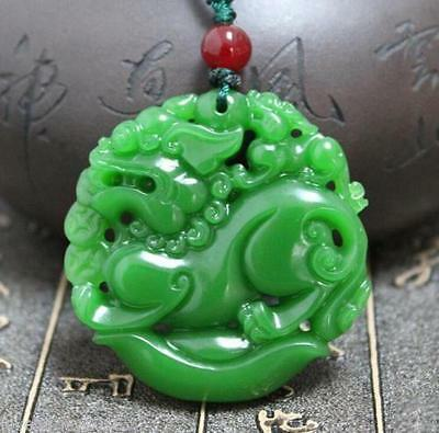 """Chinese green jade hand carving """"貔貅"""" """"China Dragon"""" Good luck necklace pendant"""