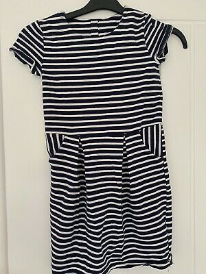 In Exc Girls Stripped Navy And White Dress From H&M Age 8-10 Years Old