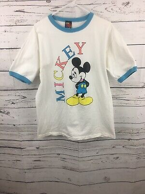 Vintage Mickey Mouse Walt Disney 80s 90s White Blue Size Large Ringer T Shirt