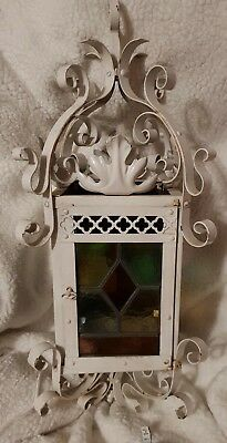 Stained glass painted metal lantern 50 cm in height