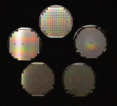 Historic 1970s-1980s silicon wafers - 2 inch, 3 inch, plus six 4 inch wafers