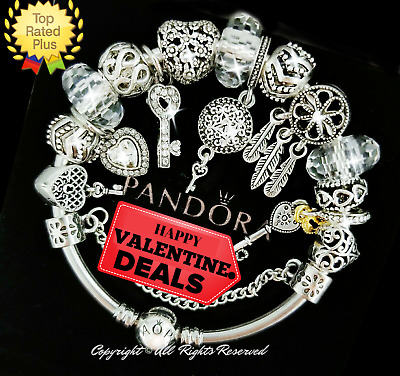 "Pandora Bracelet Silver White Key to Heart  ""LOVE STORY"" with European Charms"
