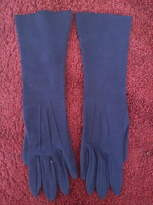 Pair Of Vintage Sea Island Navy Blue Cotton Long Evening Gloves Size S/M