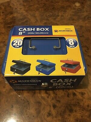 """CASH BOX WITH TRAY AND 2 KEYS High Quality Steel 8"""" 20cm Brand New Sealed Blue"""