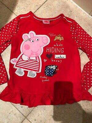 Girls Christmas Top - Peppa Pig - Age 5-6 Years Red