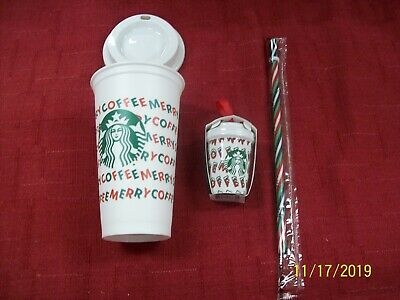 Starbucks 2019 Holiday Merry Coffee Reusable Cup Ornament Straw Green White Red