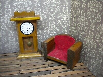 Dolls house furniture 1:24 scale Grandfather clock & armchair/miniature/wood/old