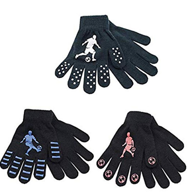 2 pairs Boys Thermal Magic Gripper Grip Gloves Football Designs
