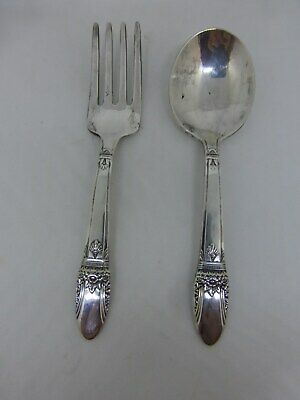 Vintage First Love Baby Set--Spoon and Fork--1847 Rogers Bros IS--Silverplate