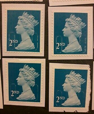 25 x 2nd class GB stamps (blue security type) on white paper, used, unfranked
