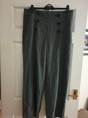 M&S Herringbone, Land Girl 40's Style Wide Leg Trousers, Button Detail, Size 16