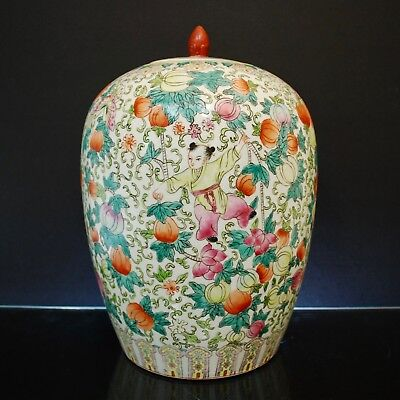 Antique Chinese Porcelain Vase Hand painted Children Picking Melons
