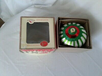 Kurts Adler Christmas Ornament Indent Glass Large Red, White, Green Early Years