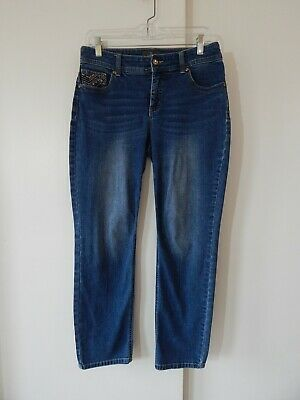 womens blue CHICOS SO SLIMMING jeans slim embroidered casual ankle crop small 0