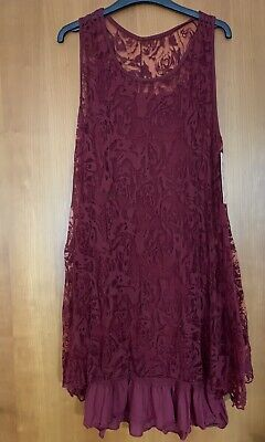 Womens Ladies Burgundy Stretchy Summer Dress One Size With Under Slip