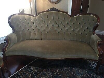 antique 1880s Victorian sofa & chairs