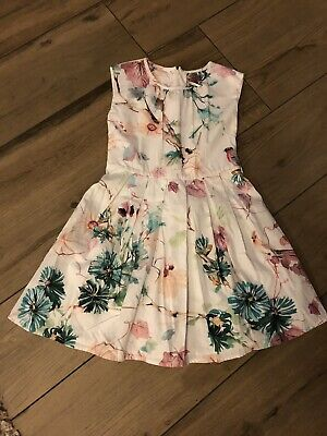 Next Girls Dress Age 8 Years Party White With Birds And Flowers
