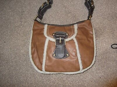 Next Ladies Brown Faux Leather Shoulder Bag with cream fury trim– USED