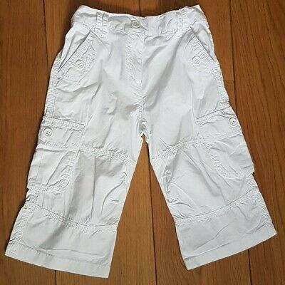 Tu Girls 3/4 Length White Cotton Cargo Summer Trousers Age 7