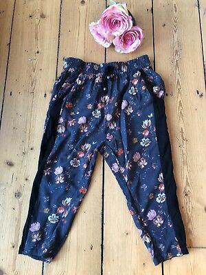 NEXT GIRLS TROUSERS Age 3 Loose FLORAL blank Red flowers Cargo SUMMER