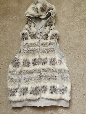 Girls Next hooded Fur Gilet Age 14 years **ex cond**