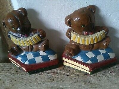 Pair Of Vintage Cast Iron Horse Teddy Bear  Book Ends