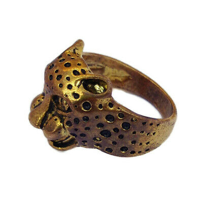 Antique Ancient Face Leopard Design Roman Ring Bronze Very Old