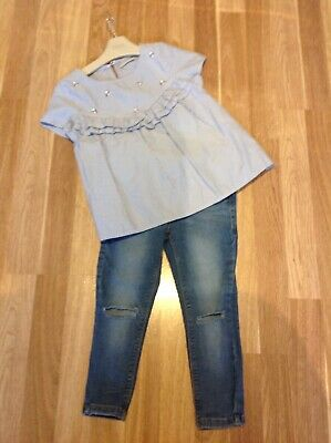 NEXT GIRLS TOP AND RIPPED JEANS OUTFIT AGE 5/6 Years Worn Lightly Must See !!