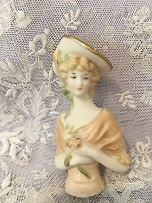 """Reproduction Half Doll """"Veronica"""" approx 7.5 cms tall painted in apricot"""