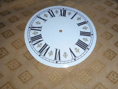 "Round Fleur-de-Lys Paper (Card)  Clock Dial - 4 1/4"" M/T - GLOSS WHITE - Parts"