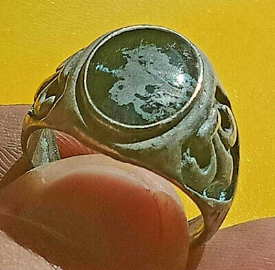 Ancient ROMAN Ring With Black Stone Silver artifact Amazing Piece.