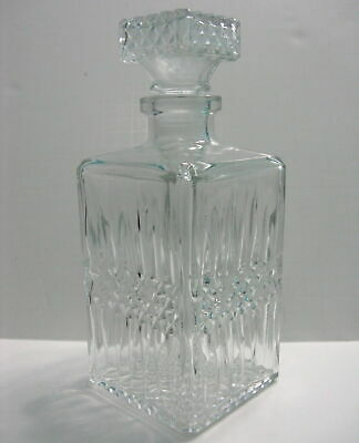 Vintage Clear Glass Square Decanter And Stopper Diamond Pattern Liquor Whiskey