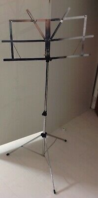 Stentor Silver Chrome Folding Portable Metal Music Stand
