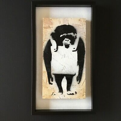 Laugh Now CHIMP Original Spray Painting By Tapir. Gross Domestic Product Banksy