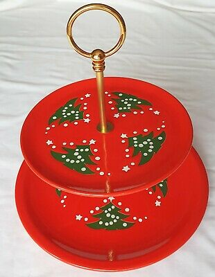 Christmas 2 Tier Plate Stand - Waechtersbach Germany - for Cakes, Mince Pies etc