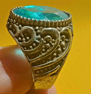 Stunning Ancient ROMAN Ring With Blue Stone Silver artifact Amazing Piece.