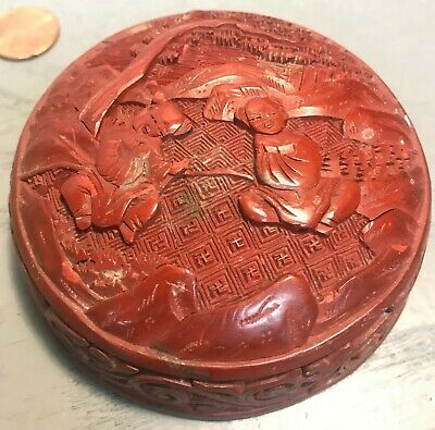 Antique Chinese Cinnabar Round Box Carved Red Lacquer