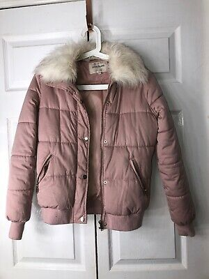 Womans/ Girls River Island Coat Light Pink White Fur Hood Size 6 Bomber Style