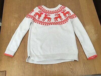 Boden Johnnie B Girls Christmas Jumper Reindeers Age 9-10 Years