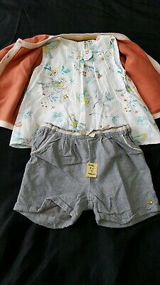 2-3 Years M&S Bird Top Cardigan And Shorts Set