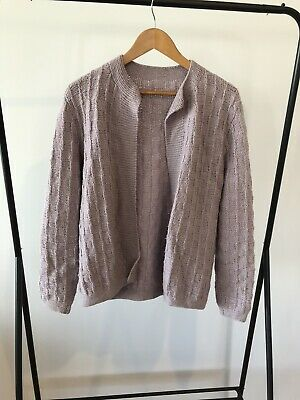 Hand Knitted Grey Wool Cardigan Small