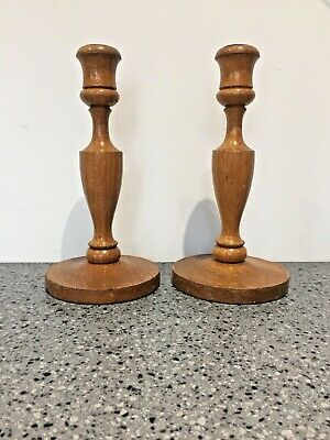 Vintage Oak Candlesticks. Pair. Brass inserts. Quality treen.....