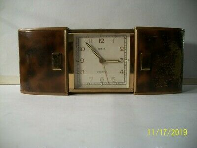 "VTG; ""Rare"" 1951, SEMCA ""The Convertible"" Travel Alarm Clock Swiss Made 7 Jewels"