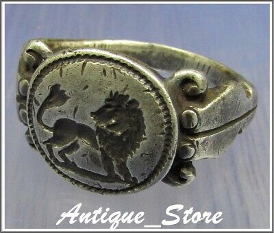 ** WOW ** NEMEAN LION **Ancient Silver Legionary Roman Ring **AMAZING **