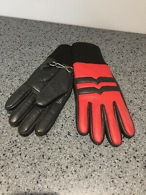 Vintage Ski Gloves in black and red leather size medium/large 1970s