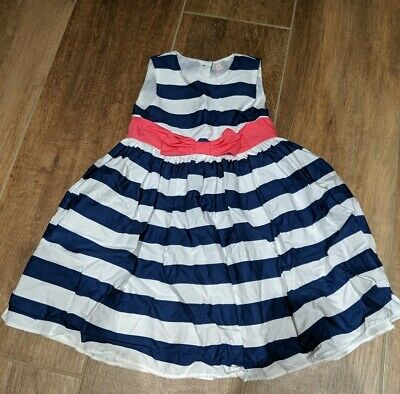 Girls Dress 4-5 years (M&S) - Blue/White striped Pink Box (Smart/Wedding/party)