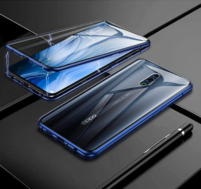 Magnetic Metal Bumper Double Tempered Glass OPPO Reno Z Luxury Case Cover