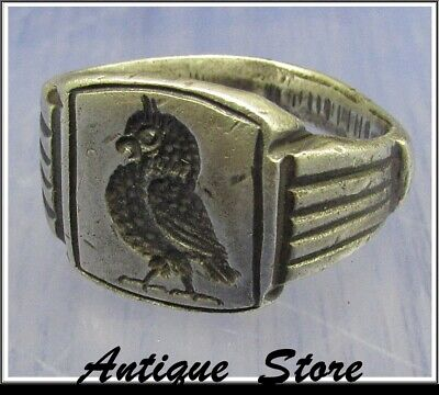 ** OWL of ATHENA ** Ancient Legionary Silver Greek Roman Ring ** VERY RARE **